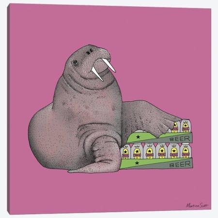 Weekend Walrus Canvas Print #MAS110} by Martina Scott Canvas Wall Art