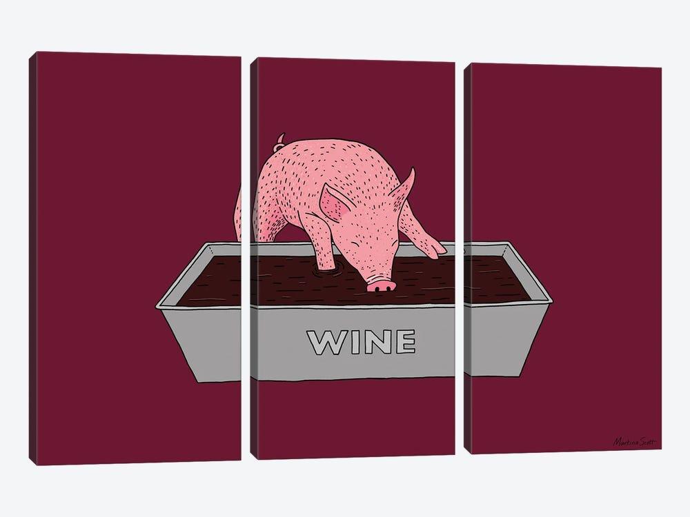 Wine Pig by Martina Scott 3-piece Art Print