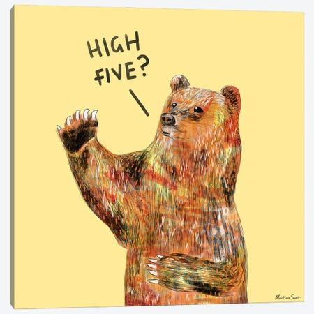 High Five Bear Canvas Print #MAS113} by Martina Scott Canvas Artwork