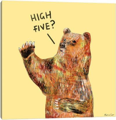 High Five Bear Canvas Art Print