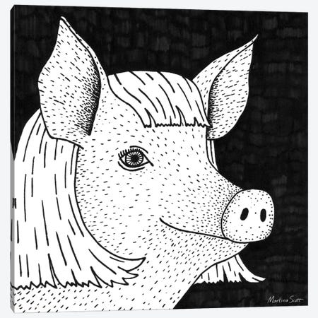 Pig In A Wig Canvas Print #MAS118} by Martina Scott Canvas Art