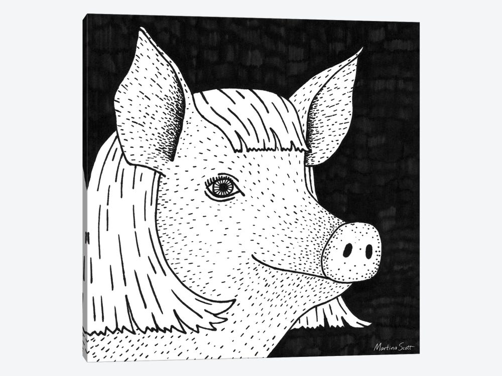 Pig In A Wig by Martina Scott 1-piece Canvas Wall Art