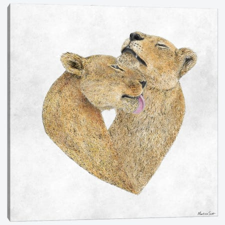 Lioness Lovers Canvas Print #MAS30} by Martina Scott Canvas Art Print