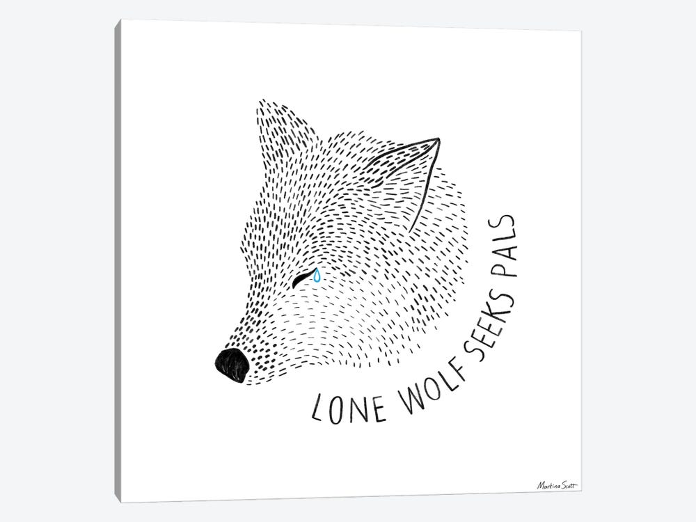 Lone Wolf Seeks Pals by Martina Scott 1-piece Canvas Art