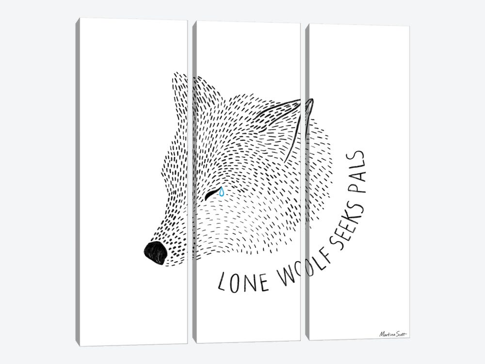 Lone Wolf Seeks Pals by Martina Scott 3-piece Canvas Wall Art