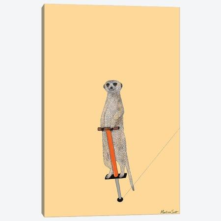 Meerkat On A Pogo Stick Canvas Print #MAS34} by Martina Scott Canvas Art