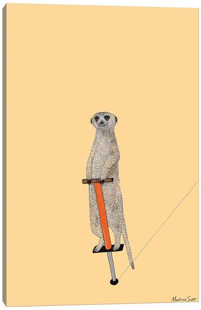Meerkat On A Pogo Stick Canvas Art Print