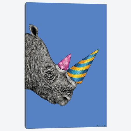 Party Rhino Canvas Print #MAS53} by Martina Scott Art Print