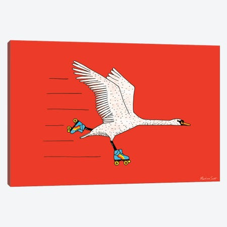 Skating Swan Canvas Print #MAS67} by Martina Scott Art Print