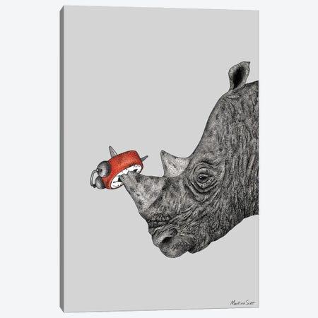 Tired Rhino Canvas Print #MAS78} by Martina Scott Art Print