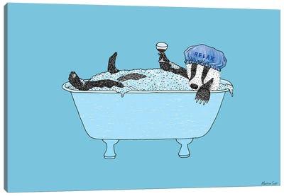 Bathing Badger Canvas Art Print
