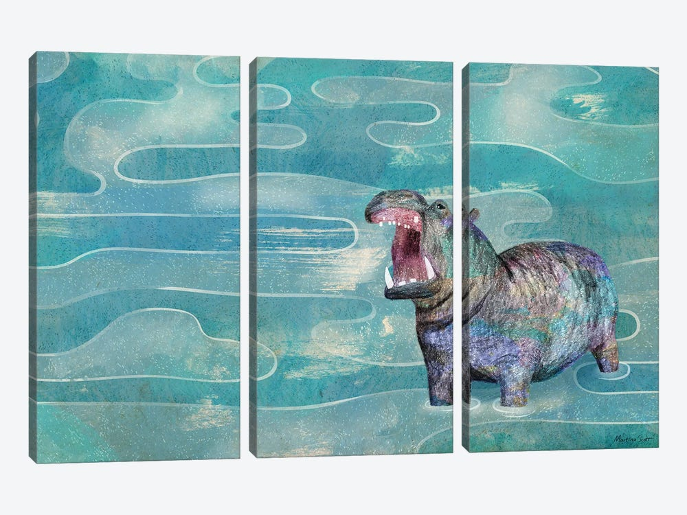 Hippo by Martina Scott 3-piece Canvas Art