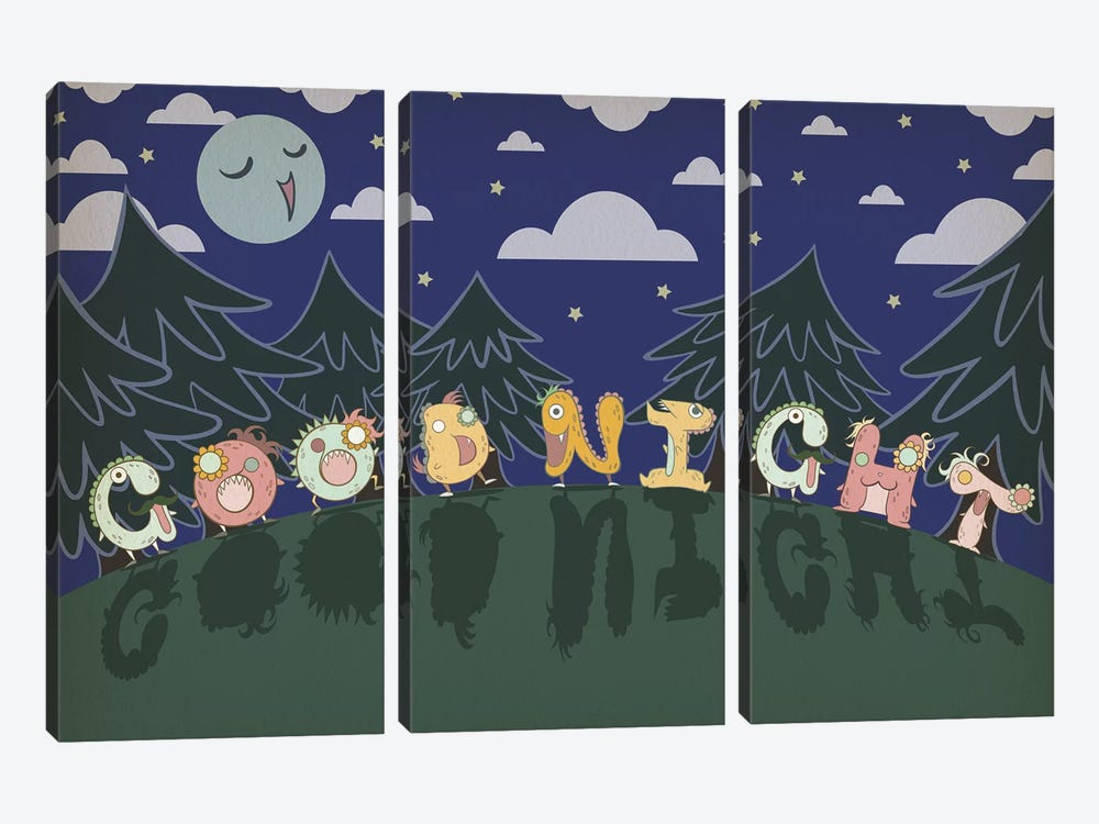 Good Night by 5by5collective 3-piece Canvas Print