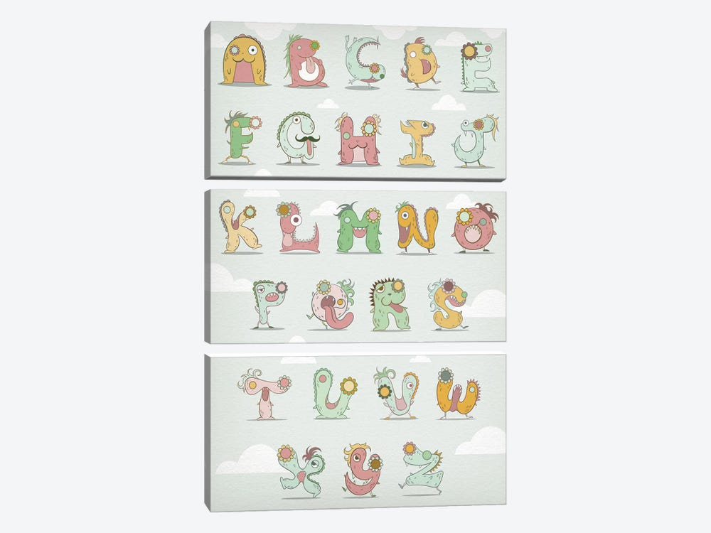 Alphabet Chart1 by 5by5collective 3-piece Canvas Print