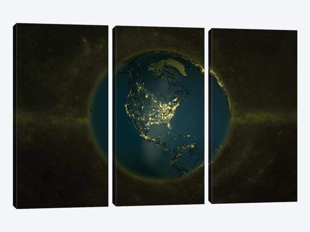 The Globe Series: Lights Of The Americas by Marco Bagni 3-piece Canvas Print
