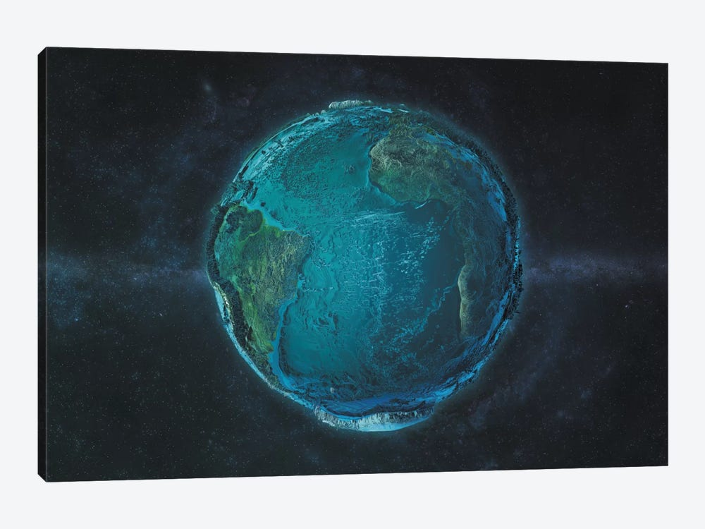 The Globe Series: The Atlantic In Relief 1-piece Canvas Print