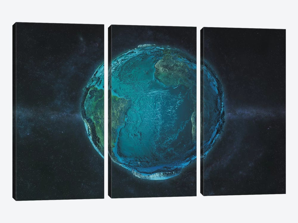 The Globe Series: The Atlantic In Relief by Marco Bagni 3-piece Art Print