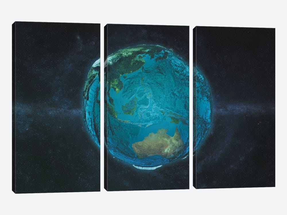 The Pacific In Relief by Marco Bagni 3-piece Canvas Wall Art