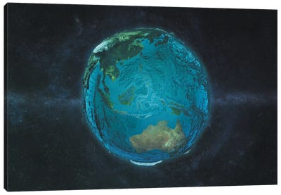 The Globe Series: The Pacific In Relief Canvas Print #MBA15