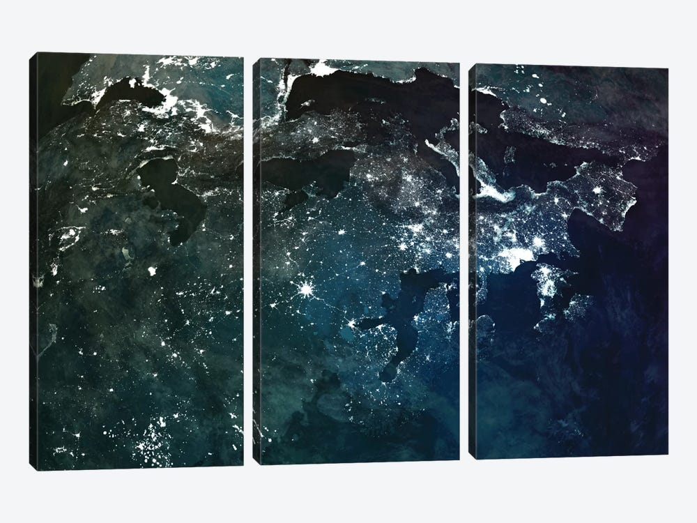 The Upside Down Earth Series: Europe by Marco Bagni 3-piece Canvas Art Print