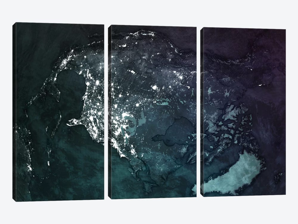 The Upside Down Earth Series: North America by Marco Bagni 3-piece Canvas Artwork