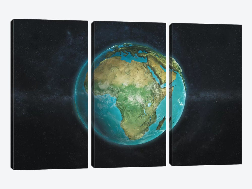 The Globe Series: A Physical View Of Africa by Marco Bagni 3-piece Canvas Print
