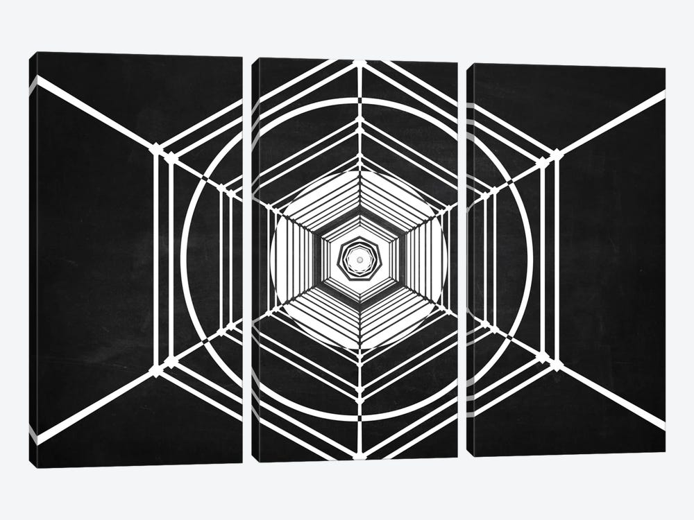 The Chasing Space Series: Hexa (Dark) by Marco Bagni 3-piece Canvas Wall Art