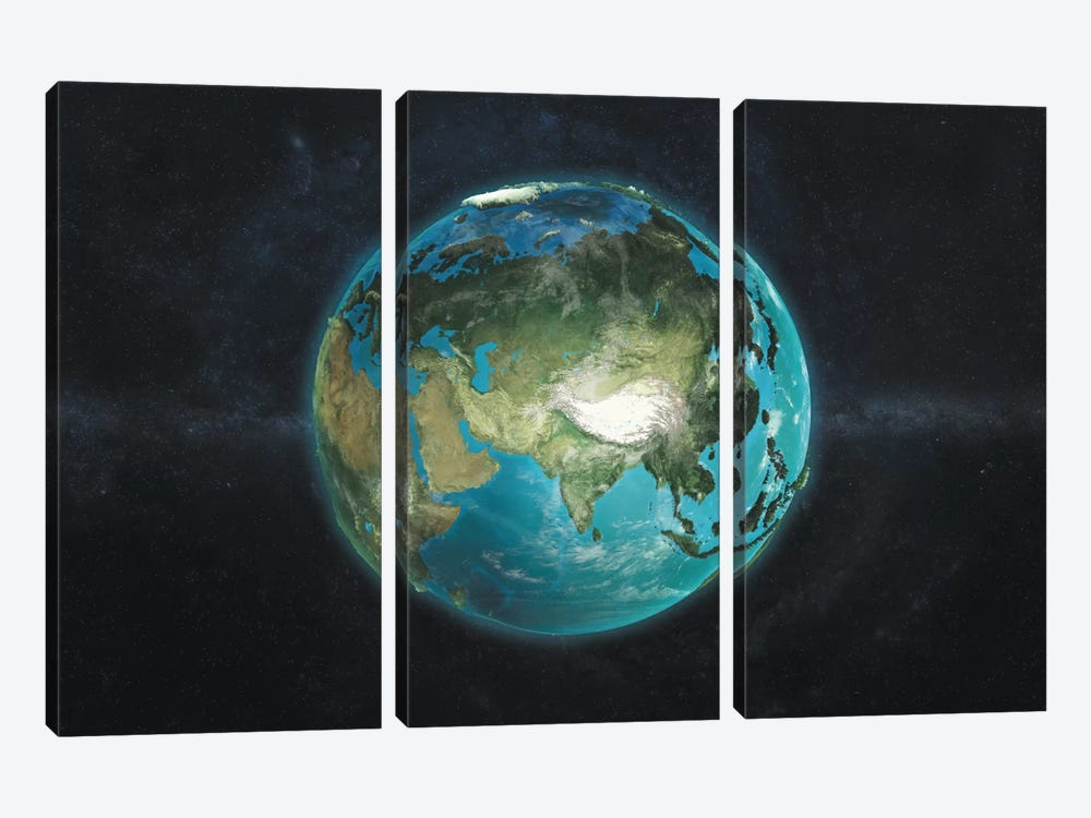 The Globe Series: A Physical View Of Asia by Marco Bagni 3-piece Canvas Wall Art