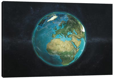 The Globe Series: A Physical View Of Europe Canvas Art Print