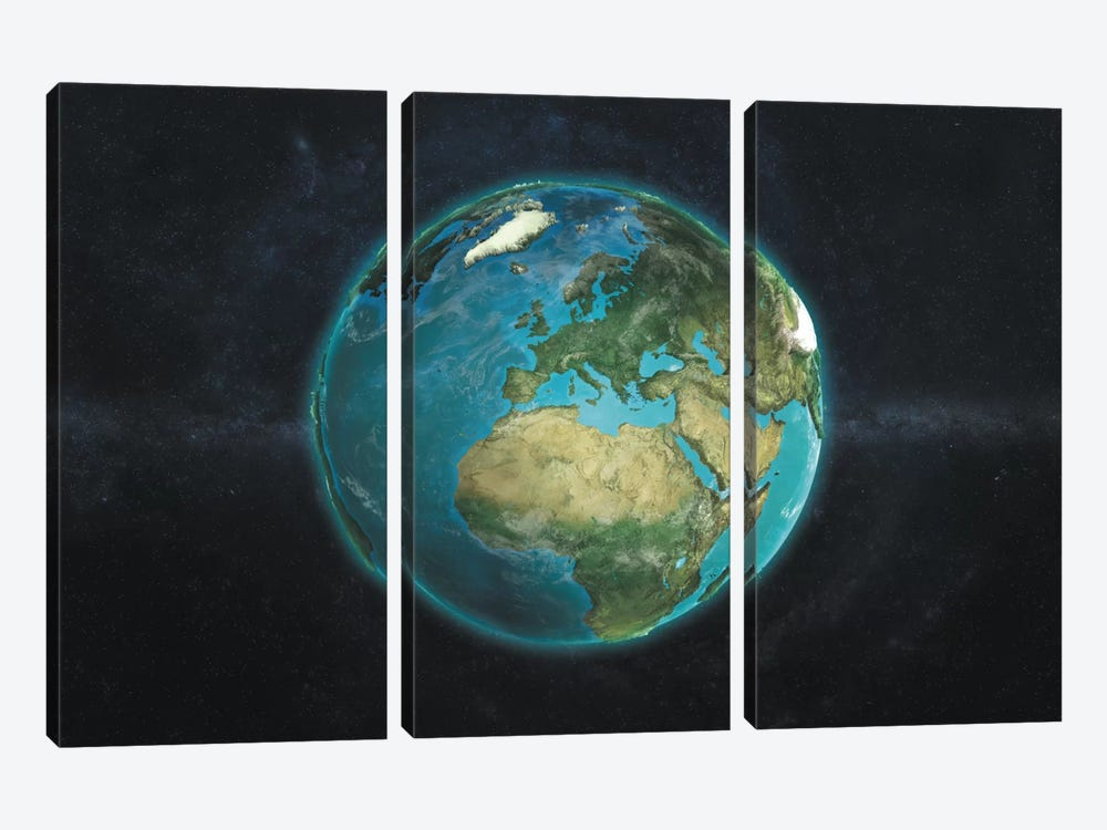 The Globe Series: A Physical View Of Europe by Marco Bagni 3-piece Art Print