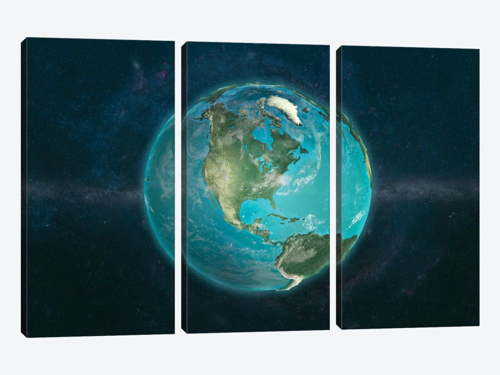 A Physical View Of The Americas by Marco Bagni 3-piece Canvas Artwork