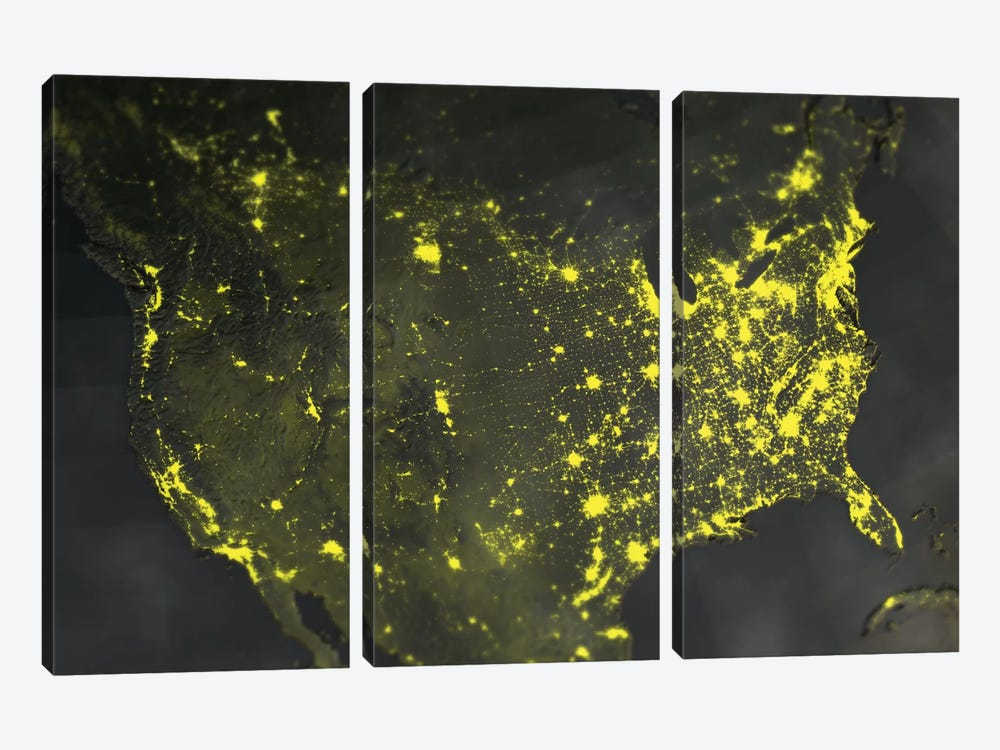 Lights Of America by Marco Bagni 3-piece Canvas Print