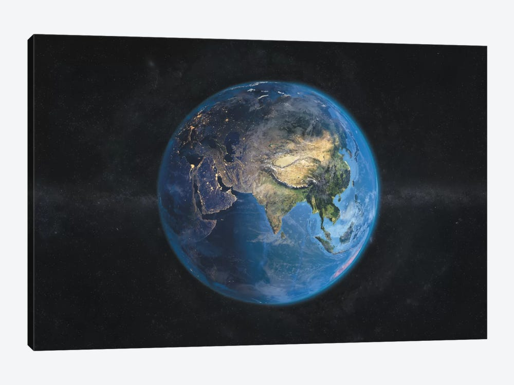 The Globe Series: Day and Night In Asia 1-piece Canvas Wall Art