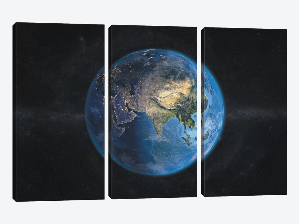 The Globe Series: Day and Night In Asia 3-piece Canvas Wall Art