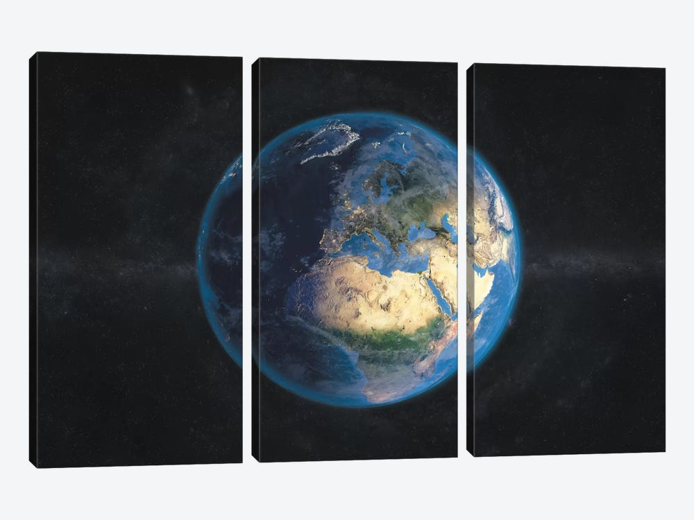 The Globe Series: Day and Night In Europe by Marco Bagni 3-piece Canvas Art Print