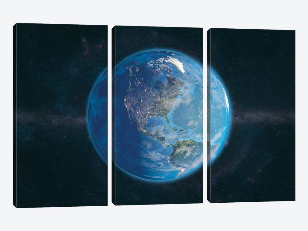 Day and Night In The Americas by Marco Bagni 3-piece Canvas Wall Art