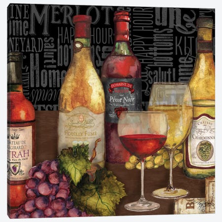 Wine Still Life On Black Canvas Print #MBB6} by Mary Beth Baker Art Print