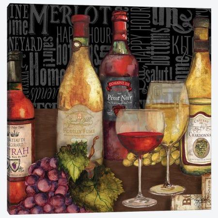 Wine Still Life On Black Canvas Print #MBB6} by Mary Beth Baker Art Print