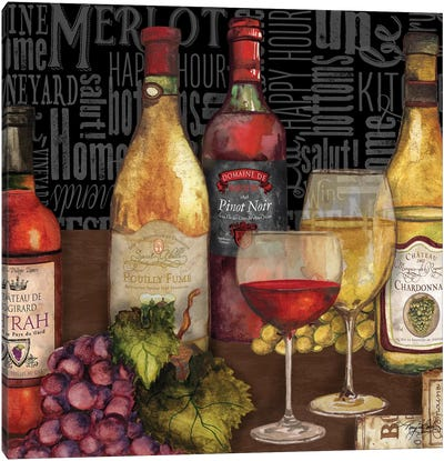Wine Still Life On Black Canvas Art Print