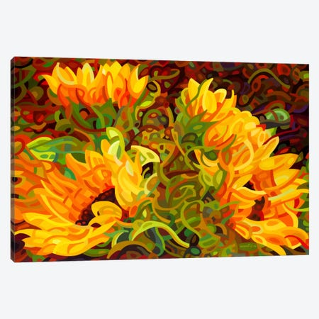 Four Sunflowers Canvas Print #MBD4} by Mandy Budan Art Print