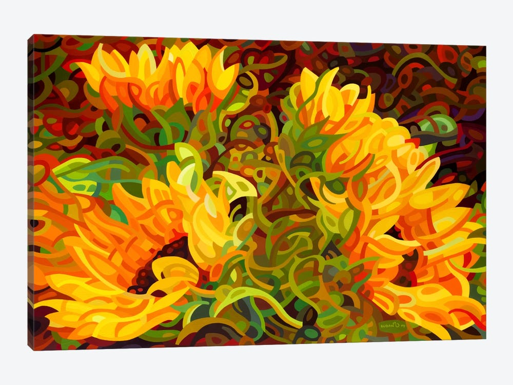 Four Sunflowers by Mandy Budan 1-piece Art Print