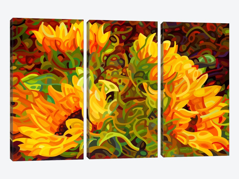 Four Sunflowers by Mandy Budan 3-piece Canvas Print