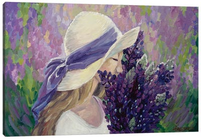 Girl And Lupins Canvas Art Print