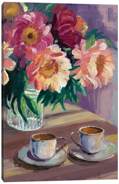 Two Cups Of Coffee Canvas Art Print