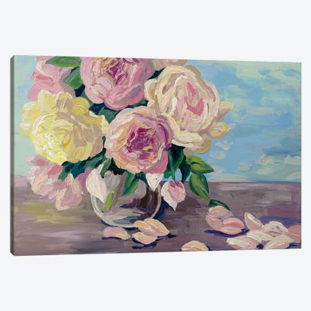 Vase With Peonies Canvas Print #MBN29} by Marina Beresneva Canvas Art Print