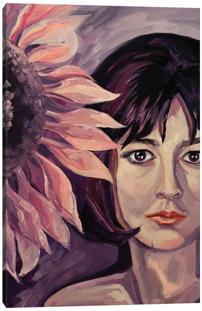 Girl With A Sunflower Canvas Art Print