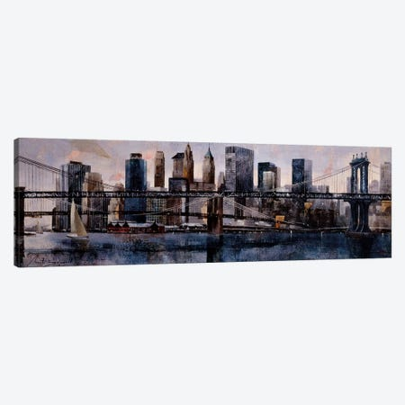 Brooklyn And Manhattan Bridges 3-Piece Canvas #MBO1} by Marti Bofarull Canvas Print