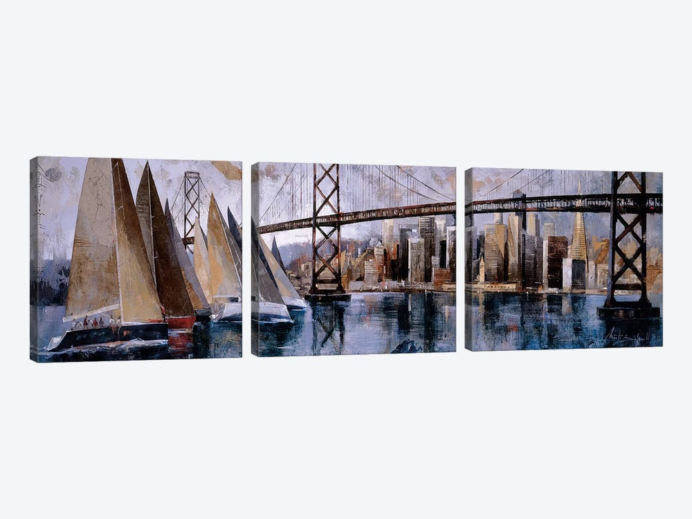 Sailing In San Francisco by Marti Bofarull 3-piece Art Print