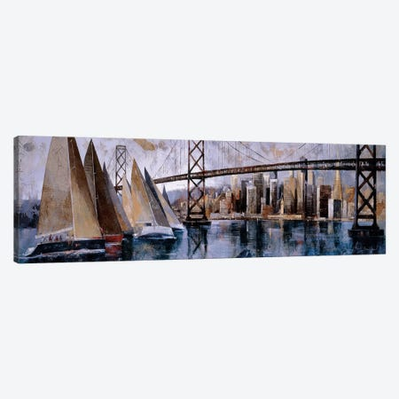 Sailing In San Francisco 3-Piece Canvas #MBO7} by Marti Bofarull Canvas Art