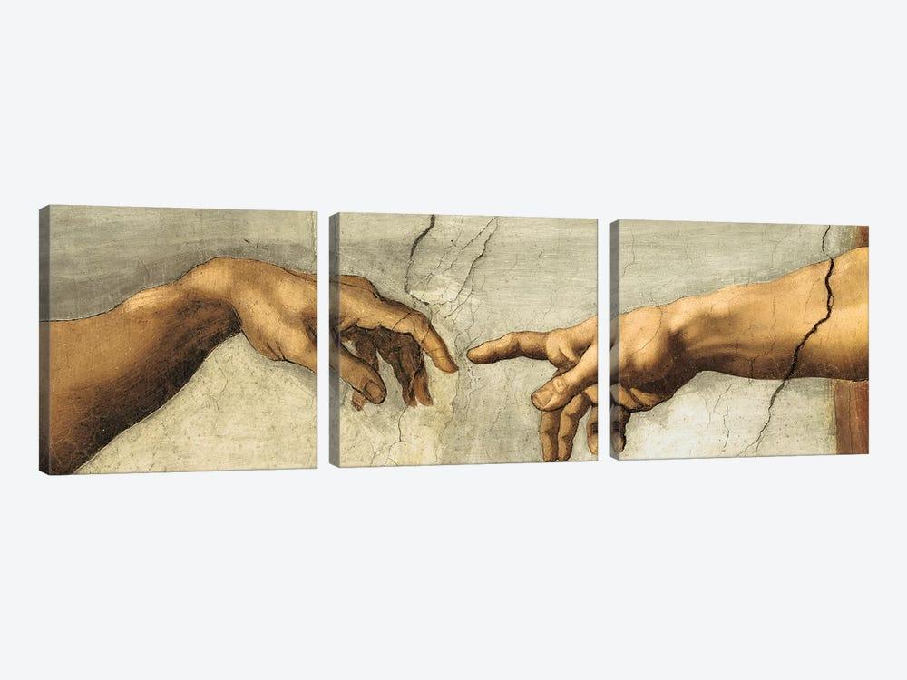 Creazione di Adamo, Detail by Michelangelo 3-piece Canvas Art